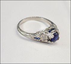 Antike Art Deco Ring Platin Diamant-Verlobungsring Sapphire Fine Jewelry Jahrgang 1920 Art Deco Schmuck
