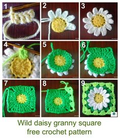how to crochet daisy granny square/ put with the sunflower for a flower blanket? : how to crochet daisy granny square/ put with the sunflower for a flower blanket? Granny Square Häkelanleitung, Granny Square Crochet Pattern, Crochet Blocks, Crochet Squares, Crochet Granny, Crochet Motif, Diy Crochet, Crochet Crafts, Yarn Crafts
