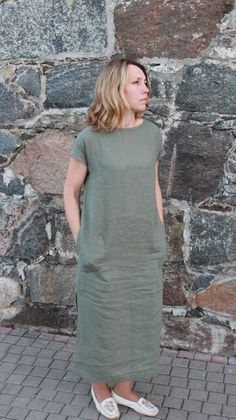 Linen dress organic linen clothing plus size linen by OldWallLinen