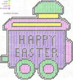 Easter Train Plastic Canvas Ornaments, Plastic Canvas Tissue Boxes, Plastic Canvas Christmas, Plastic Canvas Crafts, Plastic Canvas Stitches, Plastic Canvas Patterns, Bunny Crafts, Easter Crafts, Canvas Letters