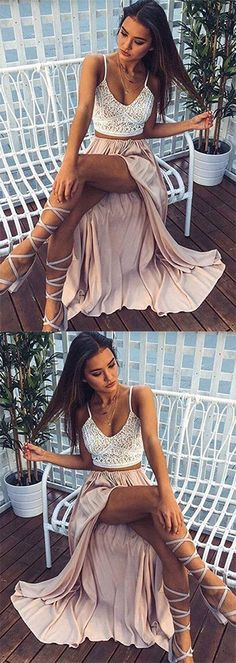 Two Pieces Spaghetti Straps V-Neck Prom Dresses,Chiffon and Lace Split Front Evening Dresses,Sleeveless Formal Dresses,#chiffon#vneck#lace#split#twopieces#spaghettistraps#sexy#promdress