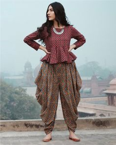 casual printed dhoti wear