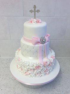 Pink ruffle christening cake - Cake by Ice Queen Cakes