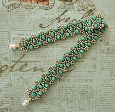 "Linda's Crafty Inspirations: Bracelet of the Day: Duo Bobble Band - Aqua & seed beads Miyuki ""Duracoat Pale Mink"" SuperDuo beads ""Turquoise Green Picasso"" rondelles ""Opaque Aqua"" (Beadoholique - Chinavoski) no published pattern for this"
