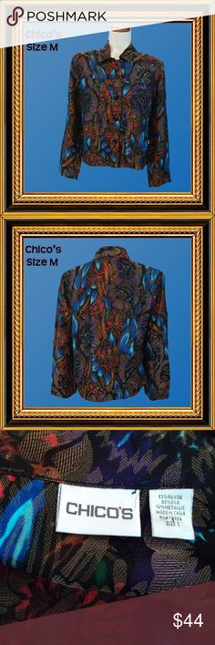 CHICO'S Blue & Rust Jacket Size M Condition: Excellent  Gorgeous jacket just in time for fall. Roomy fitting.  Measurements: Shoulders - 17;  Chest - 42; Waist - 42;  Hips - 42;  Sleeves - 18;  Garment Length - 23 Chico's Jackets & Coats Blazers