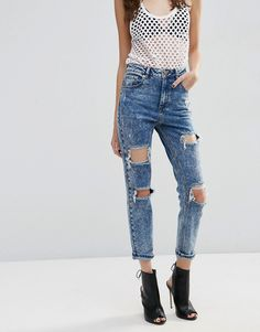 ASOS+FARLEIGH+High+Waist+Slim+Mom+Jeans+In+Acid+Wash+With+Super+Busts