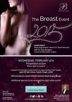 "Don't forget to RSVP for our ""Breast Event"" on February 4th where you can learn about breast procedures as well as receive amazing #BreastSurgery savings!"