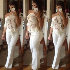 "All White Outfit ""second date "" look shouts ""show me off"" All White Party Outfits, All White Outfit, Casual Outfits, Fashion Outfits, Fashion Pants, Looks Teen, White Fashion, Curvy Fashion, Up Girl"