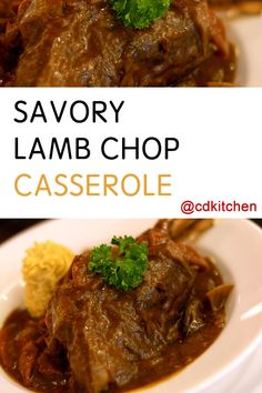 Savory Lamb Chop Casserole - Drop the chops in a casserole dish and top with a tomato-based sauce and an array of spices. Throw it in the oven, forget about it for a couple hours, and voila, easiest lamb chops ever. | CDKitchen.com