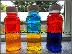 Use water, food coloring and red and blue liquid paraffin (for oil lamps) in water bottles to teach primary and secondary colors.  The water and oil only mix for a few seconds then separate into two colors again- fun, cool, simple, educational science project for the beginning of the year!  Remember to put a little hot glue on the inside of the caps so they don't open!