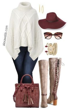 Plus Size Poncho Sweater Outfit - Plus Size Fashion for Women - alexawebb.com