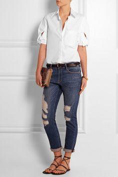 See by Chloé | Bow-embellished cotton-poplin shirt | NET-A-PORTER.COM