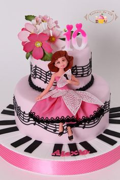 Music and flowers for Alexia - Cake by Viorica Dinu