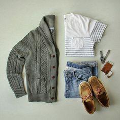 Sometimes I turn the air conditioning waaaay down low just so I can dress in my warmer clothes. Cardigan: @bonobos Oceanside cotton/linen Tee: @grayers Wallet: @bisonmade Watch: @jcrew @timex Shoes: @sebagousa Denim: Double RL @ralphlauren Bracelet: @billykirkinc