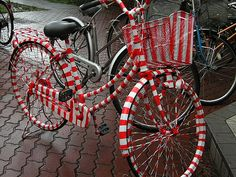 This would look sharp in a 4th of July parade! I think red painter tape would work well to make the stripes. Don't need to worry about the basket or tires.
