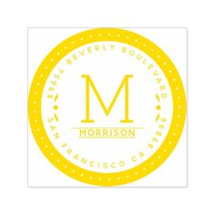 Retro Yellow Circular Border | Return Address Self-inking Stamp - modern gifts cyo gift ideas personalize
