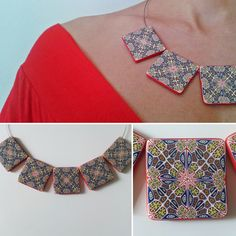 handmade polymer clay necklace