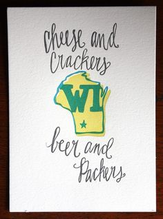 Cheese & Crackers. Beer and Packers! #GoPackGo!