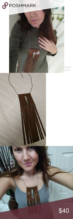 Long leather fringe necklace with Jasper This is such a great throw on with everything piece. Pair it with a sweater to elevate your look or with a cute tank for a night out look. Adjustable gunmetal tone chain with a lobster clasp. The soft turquoise Jasper stones looks beautiful against the brown leather. spirit of ariel Jewelry Necklaces
