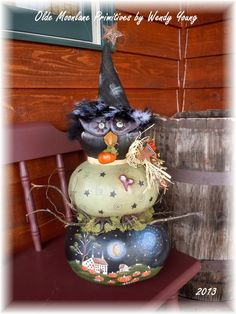 My sculpted Nite Owl gourd with a Terrye French pattern painted on the bottom.