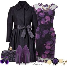 """Purple floral lace dress"" by leilani-almazan on Polyvore"
