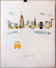 """Lovely and sweet. 11""""x14"""" NYC poster by Albie Design (via Etsy)"""