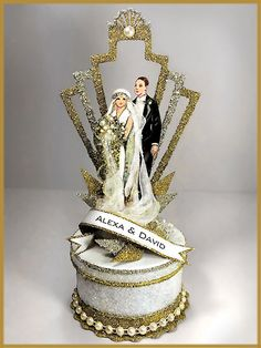 "1920's ""Art Deco"" Great Gatsby Wedding Cake Topper, Keepsake Box"