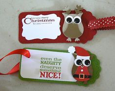 Christmas tags with the Stampin' Up! Owl Punch & Two Tags Die Christmas Gift Tags, Christmas Items, Xmas Cards, Christmas Projects, Holiday Crafts, Christmas Boxes, Gift Cards, Envelopes, Owl Punch Cards