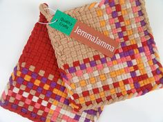 Woven Potholders Hand Dyed All Cotton Loops Tan & by JemmaJamma