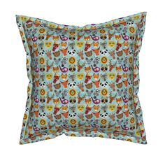 Serama Throw Pillow featuring  funny cute animal face on a blue background by…