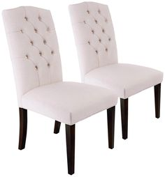 These are so inexpensive it's crazy -- $200 for the Set of 2 Natural Linen Button Tufted Dining Chairs