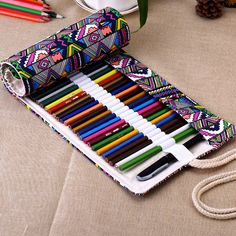 36/48/72 Holes Canvas Wrap Roll up Pencil Case Pen Bag Holder Storage Pouch…