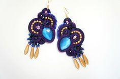 soutache earrings double-sided, purple, gold