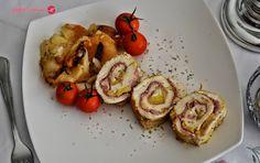 Cuchillito y Tenedor: Pollo relleno de jamón y piña.