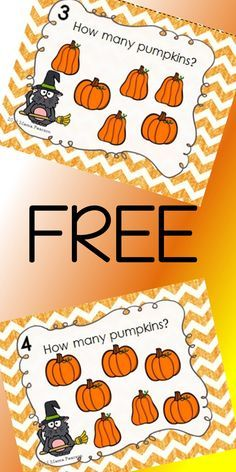 FREE!!! 8 of the cutest pumpkin task cards ready for your students to use to help them with counting objects.