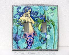 Mermaid and Seahorse Double light switch plate by TheElfinForest, $30.00