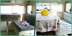 Reupholstered dinette cushions and a new ceiling for my vintage trailer! Vintage Camper Interior, Vintage Trailers, Ceilings, Real Life, Cushions, Cottage, Camping, Bed, Pretty