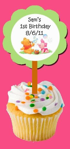 Baby winnie the pooh and piglet cupcake pick by OriginalsByErinD, $9.00