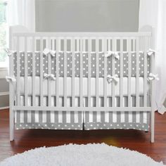 Gray and White Dots and Stripes Crib Bedding   Gender Neutral Grey and White Crib Bedding   Carousel Designs 500x500 image