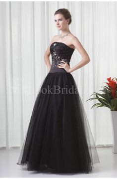 A-Line Strapless Floor-Length Organza Prom Dress with Sequin