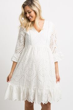 Ivory Overlay Crochet Midi Dress A solid hued crochet overlay maternity dress fe. Maternity Dresses Summer, Pink Blush Maternity, Maternity Fashion, Boho Maternity Dress, Crochet Midi Dress, Vestido Casual, Blouse Vintage, Cotton Dresses, Fashion Dresses