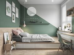 Colorful interior with connection: green, coral, blue & yellow decor . - Colorful interior with connection: green, coral, blue & yellow decor - Green Bedroom Design, Bedroom Wall Designs, Bedroom Green, Green Bedrooms, Bedroom Yellow, Yellow Walls, Mint Bedroom Walls, Green Kids Rooms, Bedroom Paint Design