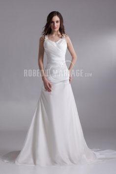 Robe de mariage moderne col en v magnifique satin robe pas cher