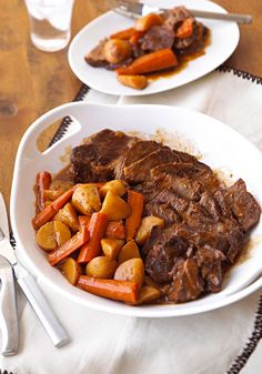 Pot Roast with Gravy -- Comfort food without calorie overload. This pot roast recipe with savory gravy, carrots and potatoes is prepped in 15 and healthy living.