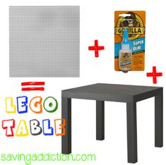 DIY Lego table for Austin.and attach storage buckets underneath. Projects For Kids, Diy For Kids, Diy Projects, Petite Table Ikea, Ikea Coffee Table, Lego Storage, Storage Buckets, Lego Room, Toy Rooms