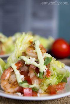 Shrimp Wedge Salad with Guacamole Dressing