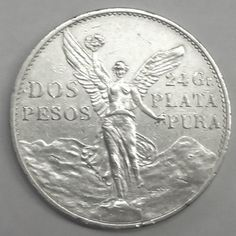 1921 Mexico 2 Dos Peso 90% Silver Crown Size Coin-Winged Victory!