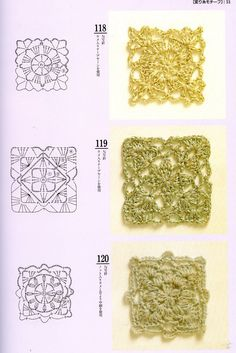 Japanese crochet motifs with diagrams