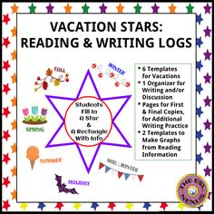 These templates give students some writing practice during school vacations and also include space for recording what they read.  There are 6 templates--1 for each season plus two more-- and students can use the information on them to write a composition about their holiday, discuss their vacation with classmates, and/or to do a math task.  Beginner-level ELLs can draw pictures or write words while other students can write phrases and sentences.