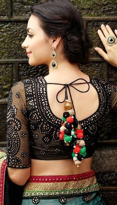 Blouse back neck designs have been a rage. Here are 54 stylish back neck blouse designs, Pick the best blouse to complement your designer saree. Blouse Back Neck Designs, Netted Blouse Designs, Black Blouse Designs, Indian Attire, Indian Ethnic Wear, Indian Outfits, Indian Clothes, Indian Style, Indian Blouse
